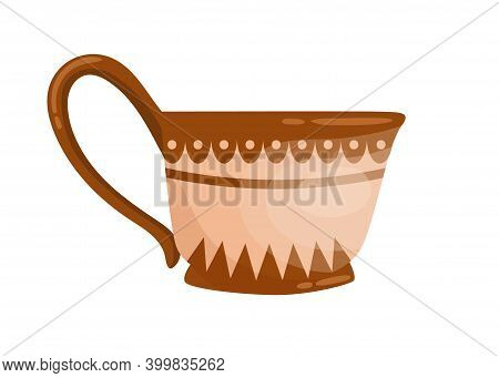 Ancient Grecian Ornamented Jug With Handle. Old Greek Pottery Decorated With Hellenic Ornaments. Fla