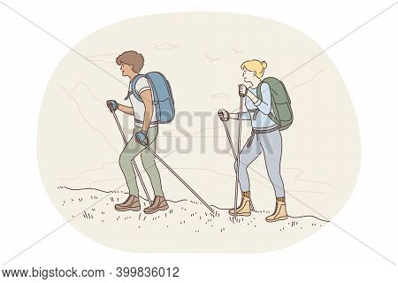 Mountain Tourism, Hiking, Traveling On Nature Concept. Young Happy Couple Cartoon Characters Tourist