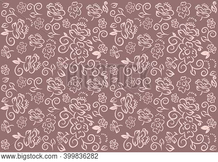 Repeating Abstract Floral Print. An Original Graphic Template For Creating Decorative Fabric Prints,