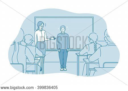 Studying In School, Introducing, Pupil And Teacher Concept. Teacher Introducing New Smiling Boy Pupi