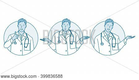Healthcare, Medicare, Doctor Showing Signs Concept. Young Man Doctor Therapist In Uniform Cartoon Ch