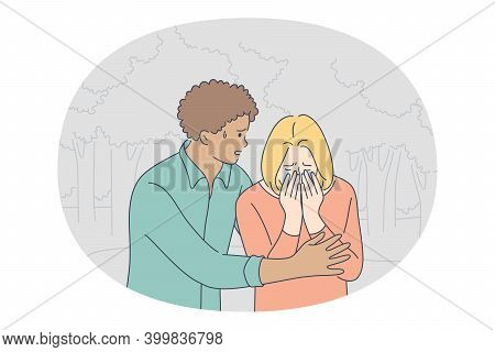 Grief, Sadness, Depression Concept. Young Unhappy Girl Cartoon Character Standing Outdoors, Crying A