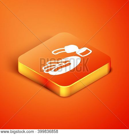 Isometric Churros And Chocolate Icon Isolated On Orange Background. Traditional National Spain Desse