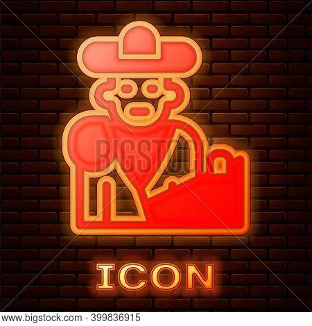 Glowing Neon Spain Bullfight, Matador Icon Isolated On Brick Wall Background. Traditional Spanish En