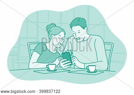 Smartphone, Online Communication, Chatting Concept. Young Couple Sitting At Home Drinking Tea With S