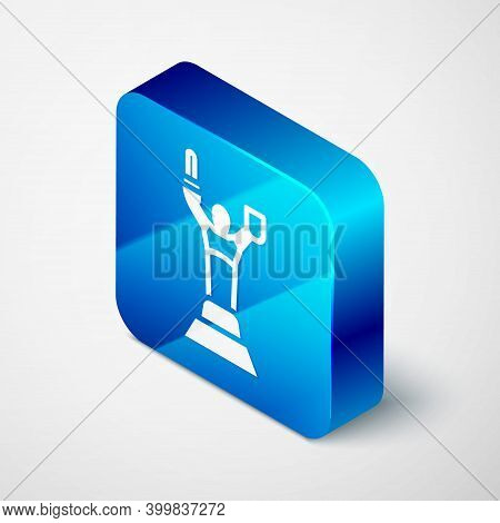Isometric Mother Motherland Monument In Kiev, Ukraine Icon Isolated On Grey Background. Blue Square