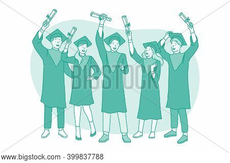 Successful Graduation From University Concept. Group Of Young Smiling Happy Students College Graduat