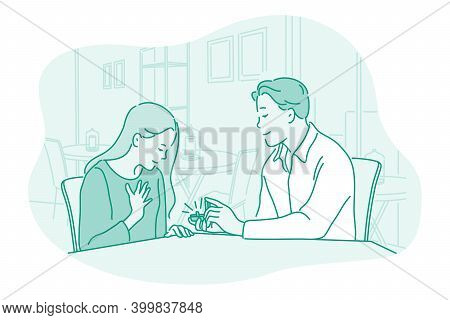 Proposal, Engagement, Relations Concept. Young Loving Happy Boyfriend Cartoon Character Sitting And