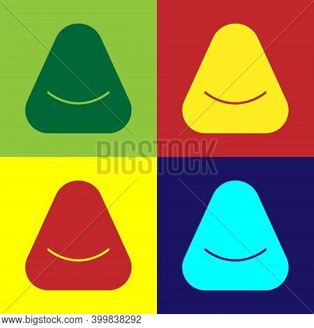 Pop Art Pouf Icon Isolated On Color Background. Soft Chair. Bag For The Seat. Comfortable Furniture