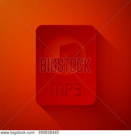 Paper Cut Mp3 File Document. Download Mp3 Button Icon Isolated On Red Background. Mp3 Music Format S