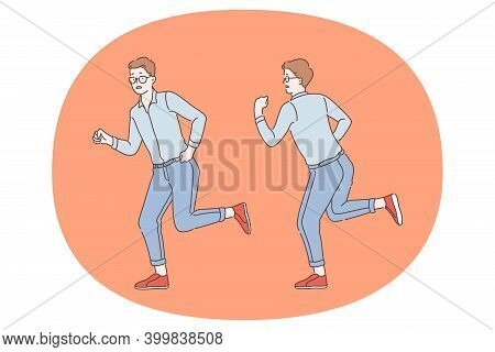 Deadline, Hurry Up, Emergency Concept. Using Stressed Man Office Worker Cartoon Character Running An