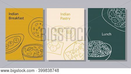 Hand Drawn Poster Set With Curry, Malai Kofta, Navratan Korma, Aloo Gobi, Biryani, Samosa, Laddu, Ra