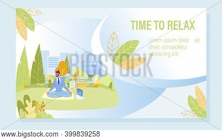Mind Cleansing And Meditation Motivation Poster. Young Businessman Character Sitting In Lotus Positi
