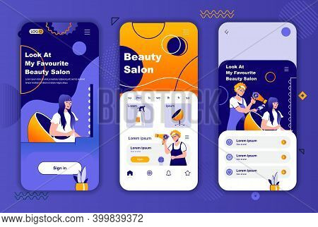 Beauty Salon Unique Design Kit For Social Networks Stories. Hairstyling Studio, Woman Hairdressing M