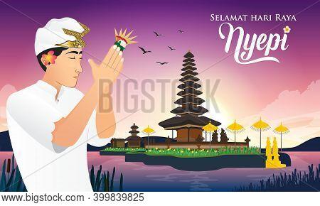 Selamat Hari Raya Nyepi. Translation: Happy Day Of Silence Nyepi. Suitable For Greeting Card