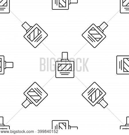 Grey Line Aftershave Icon Isolated Seamless Pattern On White Background. Cologne Spray Icon. Male Pe