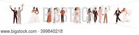 Set Of Lesbian And Gay Newlywed Couples Vector Flat Illustration. Collection Of Cute Lgbt Wedding Ce