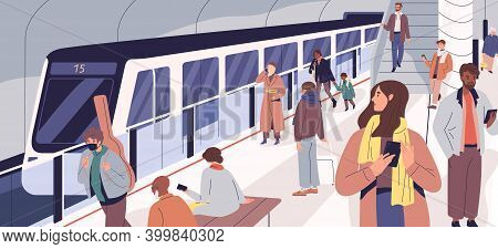 Subway Train Arriving At Metro Platform. Passengers Standing And Sitting In Modern Metro Station. Ma