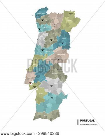 Portugal Higt Detailed Map With Subdivisions. Administrative Map Of Portugal With Districts And Citi