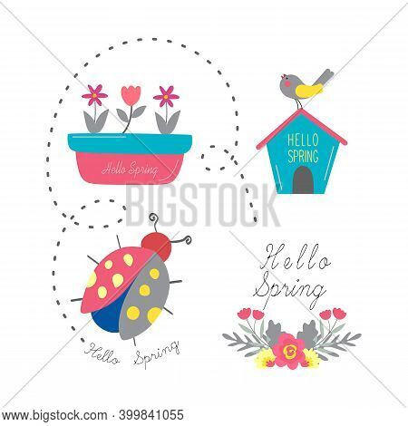 Spring Set. Spring Illustration. Flower Pots, Bird Houses, Ladybugs And Flower Bouquets With The Tex