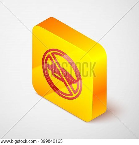 Isometric Line Food No Diet Icon Isolated On Grey Background. Healing Hunger. Yellow Square Button.