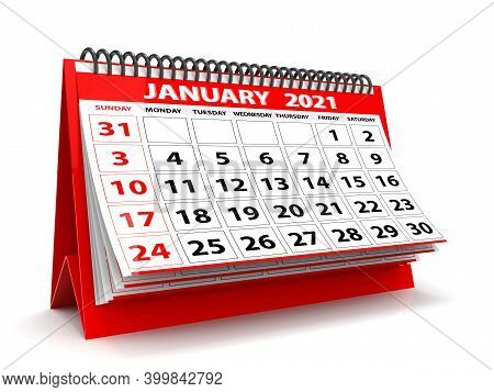 3d Desktop Calendar January 2021 In White Background, January 2021 Spiral Calendar
