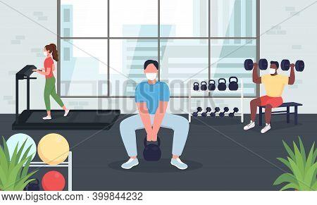 Gym During Quarantine Flat Color Vector Illustration. Social Distance During Exercising. Women, Men