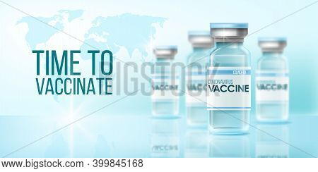 Coronavirus Vaccine Global Pandemic Medical Background With World Map, Flasks, Reflections. Virus Pr