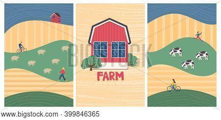 Family Vacations Farm, Farmhouse, Rural Landscape, Animals - Cow, Sheep. Nature, Ecology, Organic, E