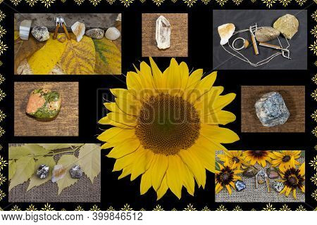 Collage. Flowers, Leaves, Jewelry And Semi-precious Stones.