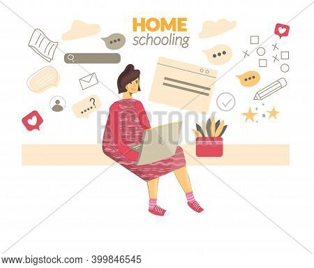 Schoolgirl Studying Homework Math During Her Online Lesson At Home, Social Distance During Quarantin