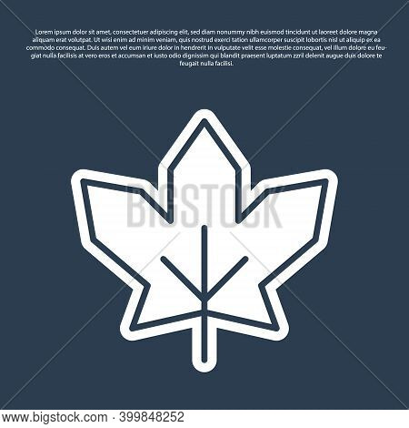Blue Line Canadian Maple Leaf Icon Isolated On Blue Background. Canada Symbol Maple Leaf. Vector