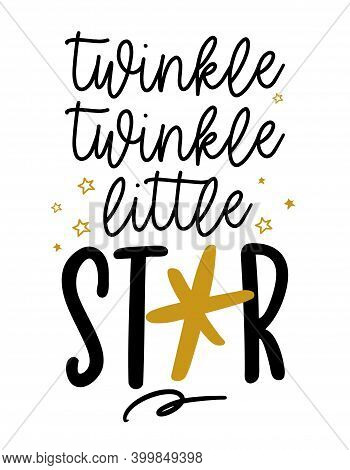 Twinkle Twinkle Little Star - Cute Star Decoration. Golden Star And Little Stars, Posters For Nurser