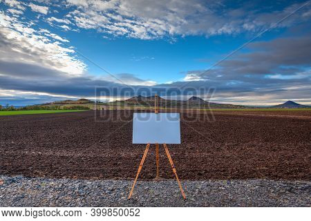 Blank Art Board And Realistic Wooden Easel On The Road. Central Bohemian Uplands, Czech Republic.
