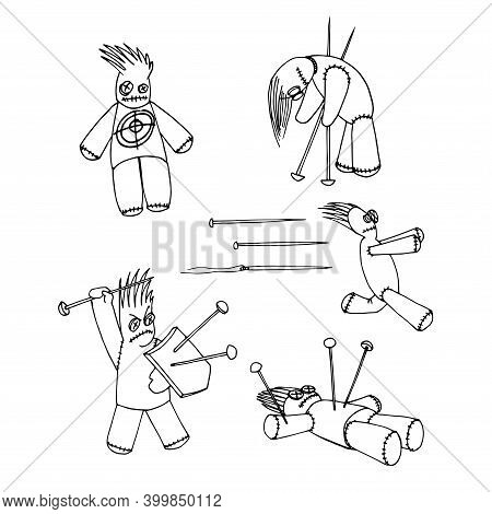 Set Of Mystical Voodoo Dolls With Needles And Pins, Symbol Of Black Magic And Pain, Vector Illustrat