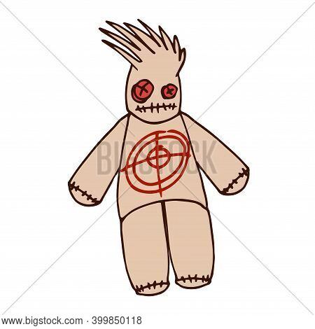 Mystical Voodoo Doll With Red Target On Body, Symbol Of Black Magic And Pain, Color Vector Illustrat