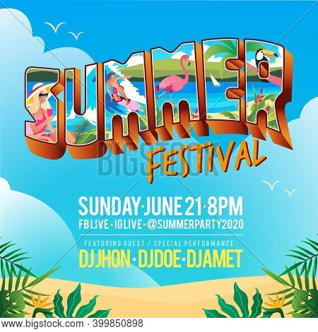 Summer Festival Banner With Vintage Tropical Lettering Postcard Style And Beach Background