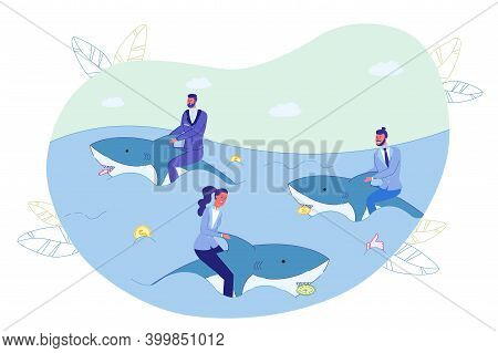 Businesspeople Swimming On Shark In Ocean Metaphor. Sea Animal Hold Money Coin, Timer Alarm Clock, S