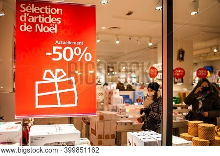 Strasbourg, France - Dec 4, 2020: Minus 50 Percent Discount On Products During Winter Holiday Season
