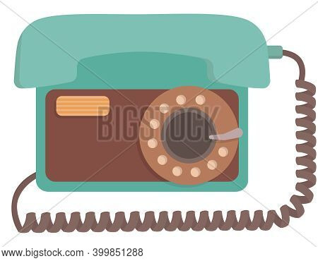 Rotary Dial Telephone. Outdated Equipment In Cartoon Style.