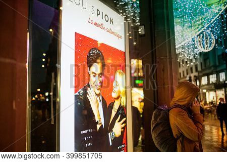 Strasbourg, France - Dec 4, 2020: Advertising For Louis Pion Fashion Accessories Jewelry On Digital