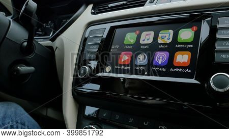 Paris, France- Oct, 2019l: View Of Car Dashboard With All Icons Of Apple Computers Carplay - Phone,