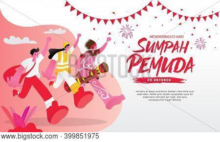 Vector Illustration. Selamat Hari Sumpah Pemuda. Translation: Happy Indonesian Youth Pledge. Suitabl