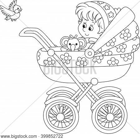 Happy Little Child Sitting With A Funny Toy In A Baby Carriage And Watching A Flying Small Bird, Bla