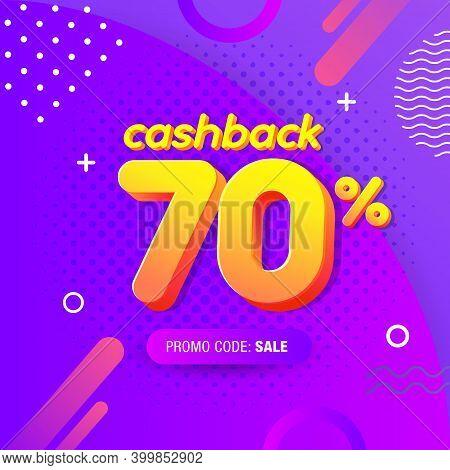 Modern Banner Design Template With 70% Cash Back Offer. Vector Illustration For Promotion Discount S