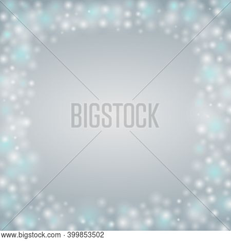 Winter Background With Blur Bokeh Snowflakes White Dots. Holiday Design Defocused Glowing Jpeg Illus