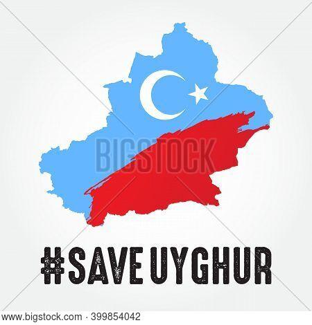 Save Uyghur Vector Illustration With Uyghur Map