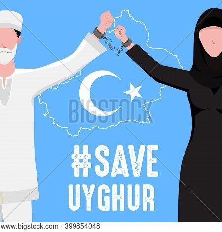 Save Uyghur Vector Illustration. Uyghur Peoples Raising Hands And Broken Chains The Symbol Of Freedo