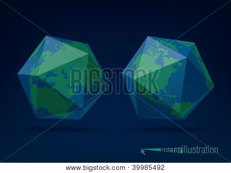 Earth globe as icosahedron, you can change colors