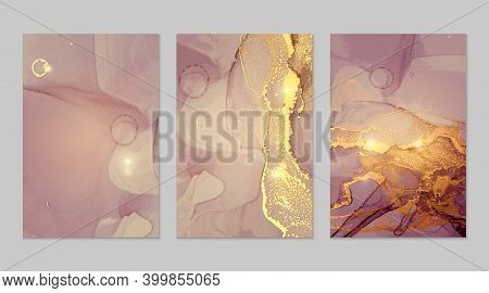 Set Of Lilac, And Gold Marble Abstract Flyers. Alcohol Ink Technique